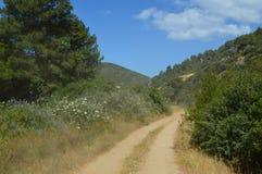Sandy-Straße durch die Berge in Kusadasi, die Türkei Lizenzfreie Stockbilder