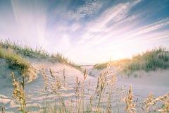 Sandy-Strand auf Sonnenuntergang stockfotografie