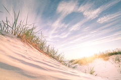 Sandy-Strand auf Sonnenuntergang lizenzfreie stockfotos