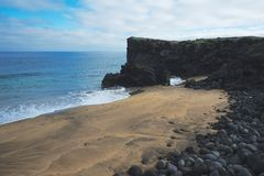 Sandy-Strand in Island stockfotografie