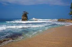 Sandy-Strand mit felsiger kleiner Insel Stockbilder