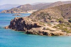 Sandy-Strand und blaues Wasser des freien Raumes an der Lagune von Kreta-Insel Lizenzfreie Stockbilder