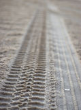 Sandy Tire Imprints. Tire tracks over wind blown sand at the ocean while focusing on a broken shell Stock Photos