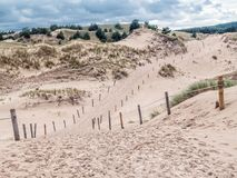 Sandy trail in the Slowinski National Park, Poland. Sandy trail withing the moving dune Wydma Czolpinska in the the Slowinski National Park, Poland Stock Images