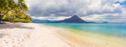 Sandy tropical beach. Beautiful landscape. Panorama. stock photo