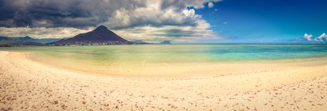 Sandy tropical beach. Beautiful landscape. Panorama. stock image
