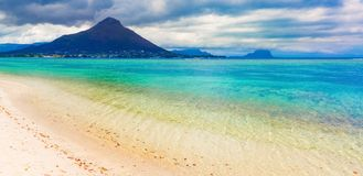 Sandy tropical beach. Beautiful landscape. Panorama. stock photo