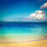 Sandy tropical beach. Beautiful landscape. royalty free stock photos