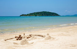 Sandy tropical beach and island Royalty Free Stock Photo
