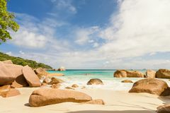 Sandy tropical beach of La Digue island Seychelles with typical Stock Images