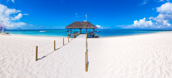 Sandy tropical beach. Panorama Stock Photo