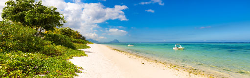 Sandy tropical beach. Panorama. Stock Photo