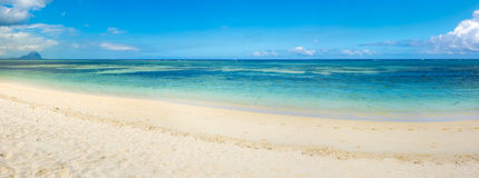 Sandy tropical beach. Panorama. Royalty Free Stock Images