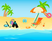 Sandy tropical beach Stock Images