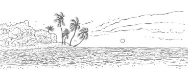 Sandy tropical island with palm trees, sea waves surf. Landscape beach in ocean for summer holiday and tourism. Black. White vector sketch illustration stock illustration
