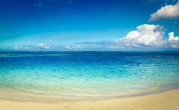 Sandy tropical beach. Beautiful landscape. Panorama. royalty free stock images