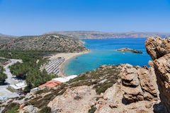 Sandy Vai beach and lagoon with clear blue water at Crete island near Sitia town, Greece Royalty Free Stock Image