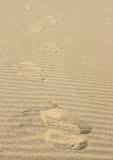 Sandy waves and footprint - a texture created by a person on the beach and the wind Stock Photos