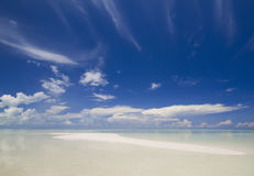 Sandy white beach on tropical island Royalty Free Stock Photography