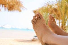 Sandy woman feet on the beach Royalty Free Stock Image