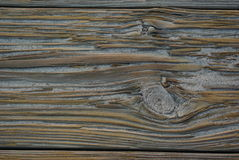 Sandy Wooden Plank. Close-up of wooden plank on beach boardwalk. Wood is weathered and cracks are filled with sand Royalty Free Stock Image