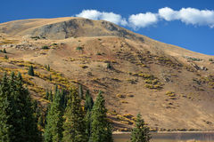 Sandy Yellow Mountain by a Lake with Pine Trees Stock Images