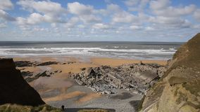 Sandymouth beach North Cornwall England UK on the south west coast path stock video footage