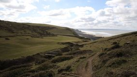 Sandymouth coast North Cornwall England UK on the south west coast path towards Bude. Sandymouth coast view North Cornwall England UK on the south west coast stock footage