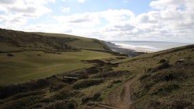 Sandymouth-Küste Nord-Cornwall England Großbritannien auf dem Südwestküstenweg in Richtung zu Bude stock footage