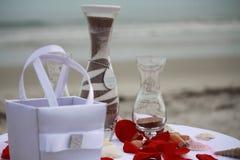 Sandzeremonie auf dem Strand Stockfotos