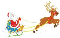 Saneczki Święty Mikołaj Zdjęcie Stock