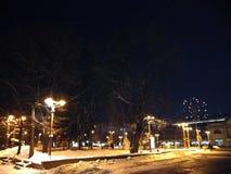 Saneczki z kolorową koc na białej śnieżnej zimie zaświeca w parku zdjęcie stock