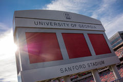 Sanford Satdium Sign. ATHENS, UNITED STATES: October 19, 2014. An early fall morning sees the sun rise over a beloved stadium in football country Stock Image