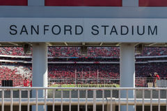Sanford Stadium Sign Overlooking Field royaltyfria bilder