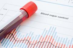 Sang d'échantillon pour examiner l'essai diabétique Photographie stock