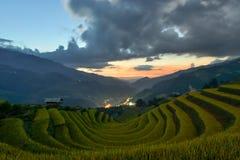 Sang Nhu häst-sko och terrasserad risfält av folket för H-`-Mong person som tillhör en etnisk minoritet royaltyfri foto