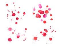 Sang rouge tiré par la main d'aquarelle abstraite d'aquarelle Photographie stock libre de droits