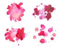 Sang rouge tiré par la main d'aquarelle abstraite d'aquarelle Image libre de droits