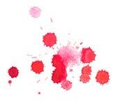Sang rouge tiré par la main d'aquarelle abstraite d'aquarelle Images stock