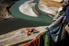 Sangam印度斯和见面在Leh的Zanskar河 免版税库存图片