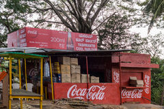 Sangam的Ghat,迈索尔,印度可口可乐摊 免版税库存照片