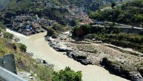Sangam de Alaknanada e de Bhagirathi Imagem de Stock