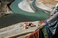 Sangam Indus en Zanskar-Rivieren die in Leh samenkomen Stock Foto's