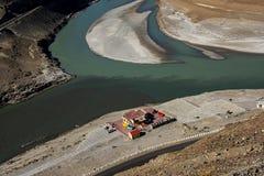 Sangam Indus och Zanskar floder som möter i Leh Arkivbilder