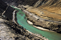 Sangam Indus and Zanskar Rivers meeting in Leh Stock Photos