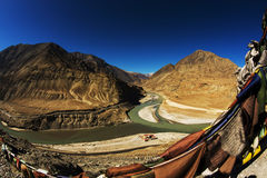 Sangam Indus and Zanskar Rivers meeting in Leh Stock Photography
