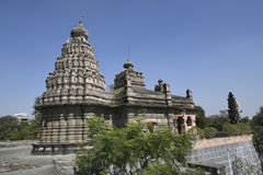 Sangameshwar temple from the period of Peshwas in basalt stone masonry at Saswad, Pune.  stock photography