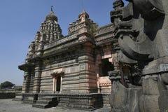Sangameshwar temple from the period of Peshwas in basalt stone masonry at Saswad, Pune.  stock photo