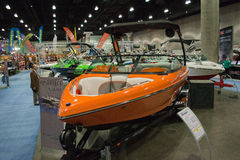 Sanger boat on display at the Los Angeles Boat Show on February Stock Photos