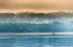 Sangha River. Morning fog on the African river Sangha. Stock Photo